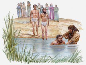 Illustration of John The Baptist baptising man in River Jordan, others waiting on riverbank, Gospel of Luke