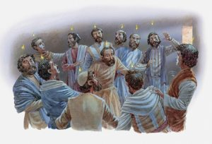 Illustration of the apostles receiving the Holy Spirit on the day of Pentecost, Acts of the Apostles