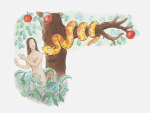 Illustration of Eve and the Serpent in the Garden of Eden