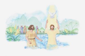 Illustration of a bible scene, Luke 3, John the Baptist baptises Jesus in the River Jordan, God speaks to him and send down his Holy Spirit in the form of a dove