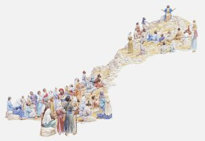 Illustration of Jesus giving sermon on the mount to crowd of people, Gospel of Matthew