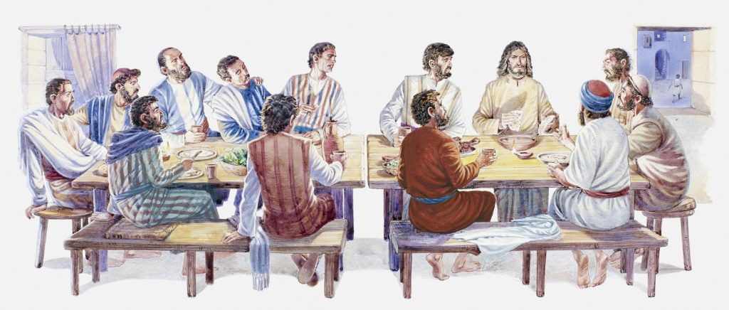 Illustration of Jesus and his disciples sitting down for Last Supper, Gospel of John